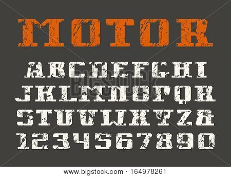 Serif font and numerals. Print on black background