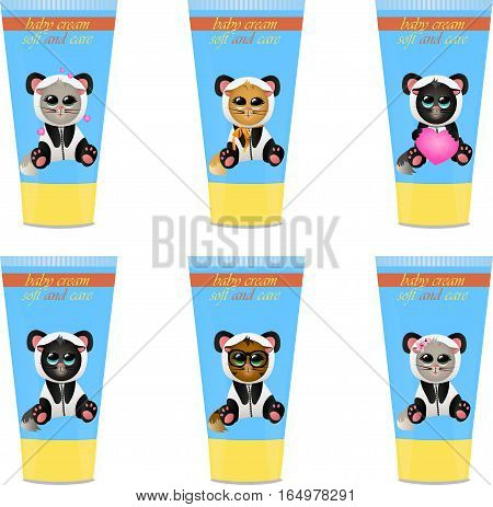 High quality original trendy vector set with Baby cream tube with kids design and cat in panda suit illustration