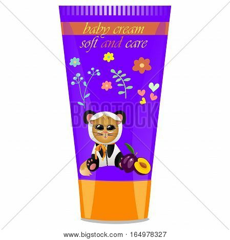 High quality original trendy vector Baby cream tube with kids design and cat in panda suit, plum illustration