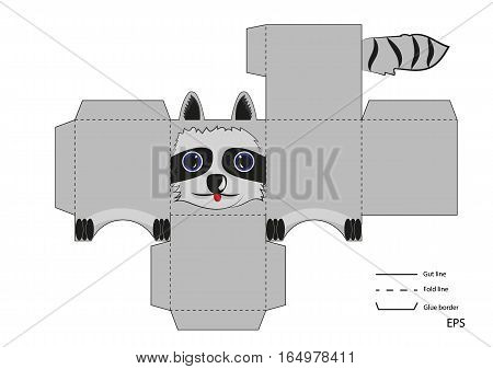 ready to print layout toy box in the form of a small raccoon