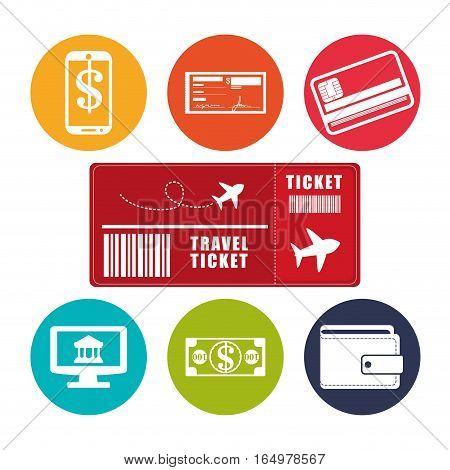 travel ticket application online e-commerce vctor illustration eps 10