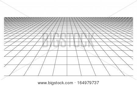 Checkered floor plane with square tiles in perspective isolated on white