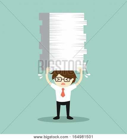 Business concept, Businessman is holding a lot of papers. Vector illustration.