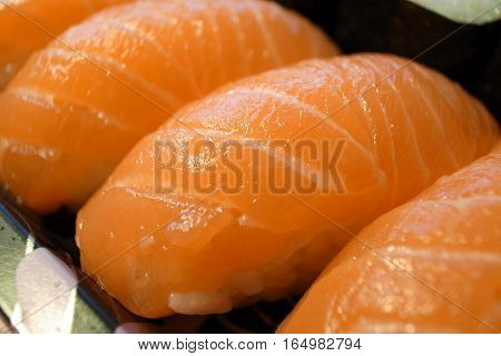 Close Up Of Salmon Sushi, Japanese Food