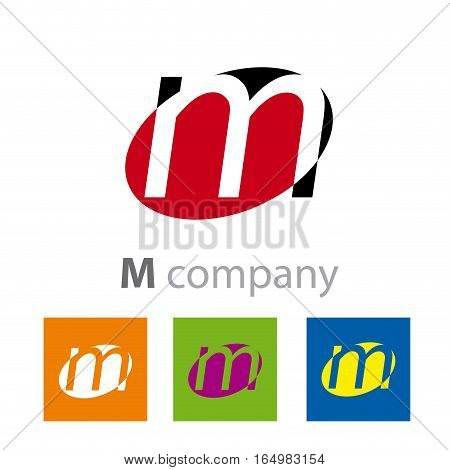 Vector Oval sign initial letter M, four logo