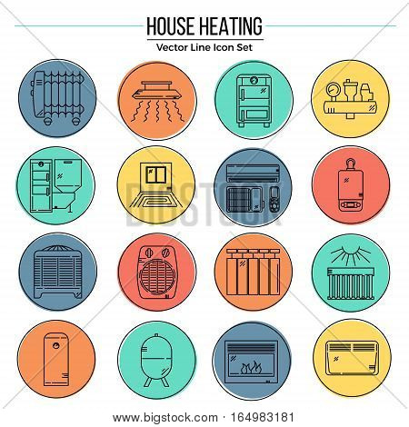 Modern Line Icons Set of House Heating. Premium quality mono linear badges pack. Outline vector logo templates. Perfect for your business.