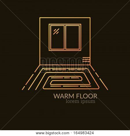 House Heating Single Logo. Illustration of Warm Floor Concept made in trendy line style vector. Clean and Simple modern emblem for shop product or company. Perfect for your business.