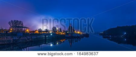 Waterway at the blue hour, Giurgiu city, Romania.
