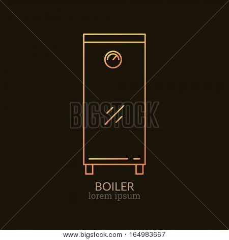 House Heating Single Logo. Illustration of Boiler made in trendy line style vector. Clean and Simple modern emblem for shop product or company. Perfect for your business.