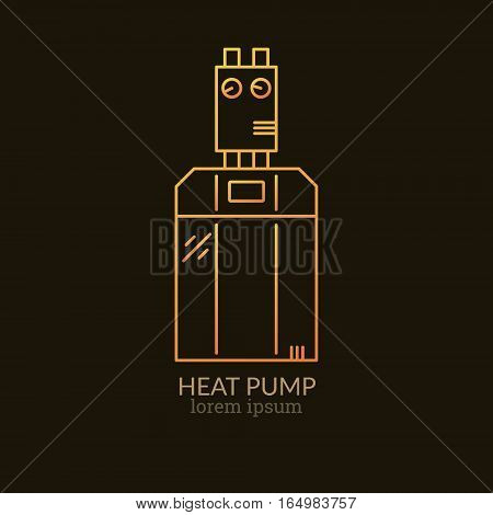 House Heating Single Logo. Illustration of Geothermal Heat Pump made in trendy line style vector. Clean and Simple modern emblem for shop product or company. Perfect for your business.