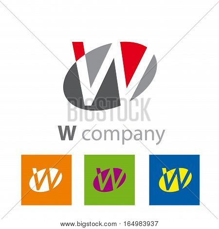 Vector Oval sign initial letter W, four logo