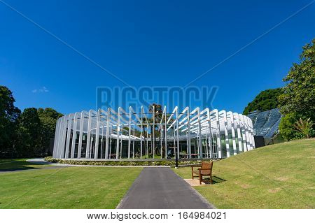 Sydney Australia - November 24 2016: The Calyx is an integrated mix of indoor and outdoor areas with the exhibitions changing on a regular basis. Sydney Royal Botanic Garden