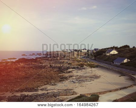 Panoramic view of ocean at sunset Brittany