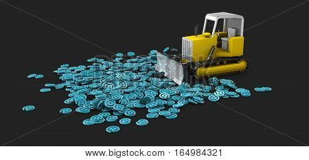 3D Illustration Of Bulldozer In Work, Creation Process Concept. Isolated Black