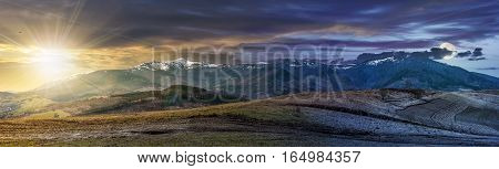 Panorama Of Rural Fields In Mountains