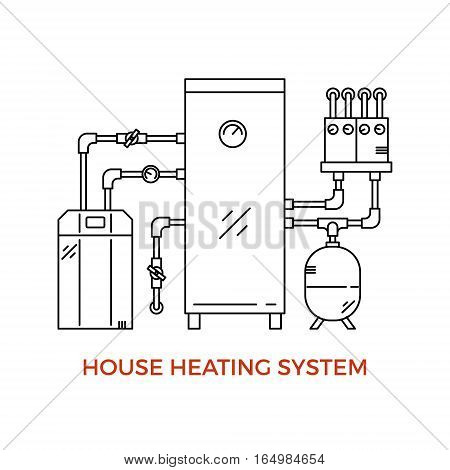 Geothermal House Heating System Vector Illustration made in modern line style.
