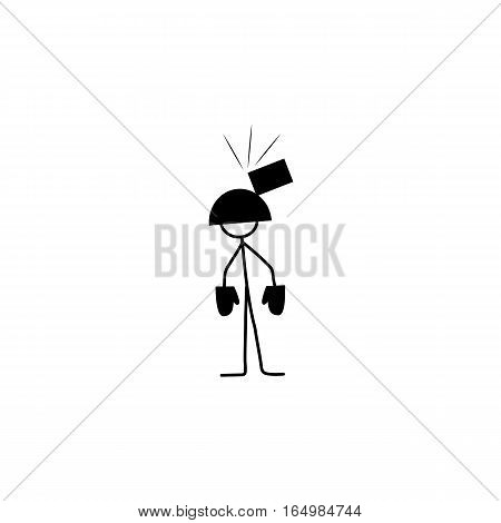 Cartoon icon of sketch stick figure man in helmet and brick on it vector in cute miniature scenes.
