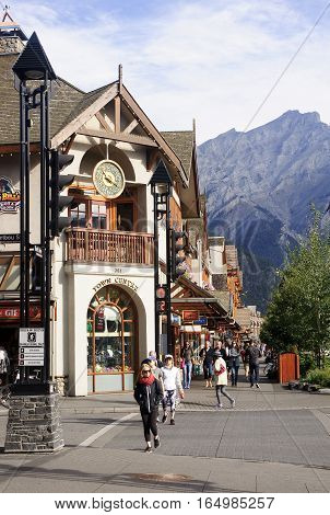 Banff, Canada - August 31, 2016: Tourists Visiting Enter Of Banf
