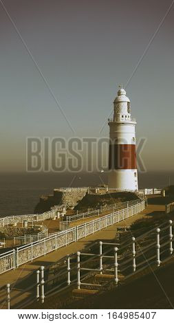 Lighthouse Gibraltar in retro style. Europe point