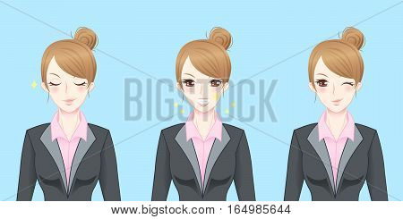 cartoon business woman feel confident and happy
