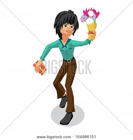 Romantic view of a young man holding out a bouquet of flowers and gift. Happy birthday Valentine's Day. Flat isolated vector illustration