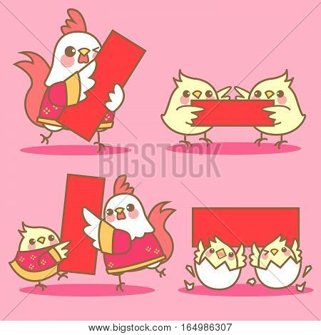 cartoon chicken with red couplet for happy chinese new year