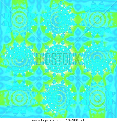 Modern geometric background. Regular floral pattern. Different abstract circles and blossoms in turquoise, blue and bright green shades with yellow and beige elements, ornate and dreamy.