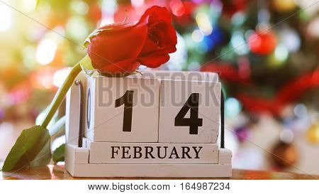 February 14 on wooden cube calendar red rose on blur colorful bokeh background with sun ray effect