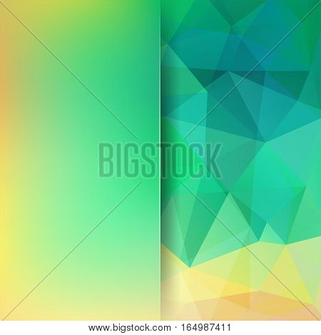 Geometric Pattern, Polygon Triangles Vector Background In Green, Yellow, Blue Tones. Blur Background
