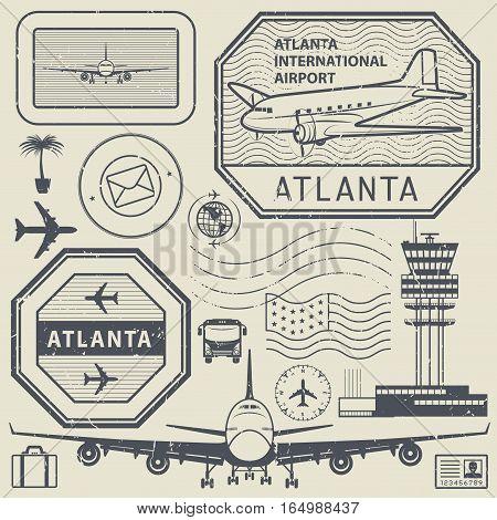 Retro postage USA airport stamps set Atlanta theme vector illustration