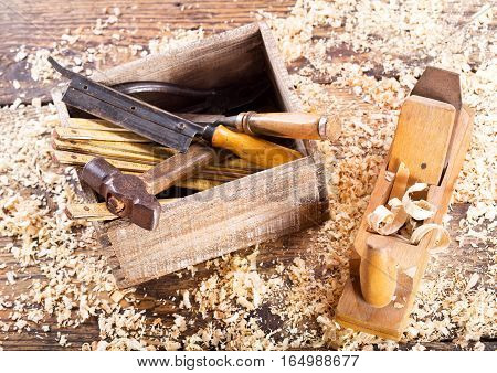 Old Tools With Sawdust