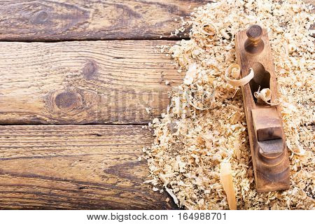 Old Wooden Planer With Sawdust