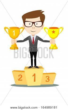 Success businessman character standing in a podium holding up a trophy as he celebrates his victory vector illustration.