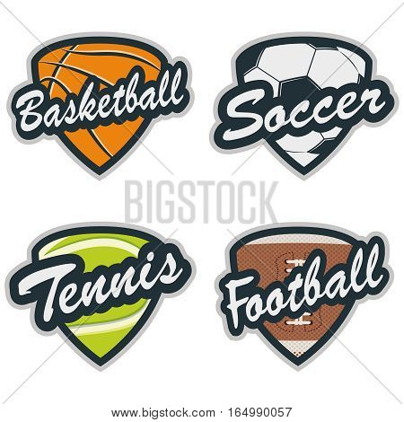 Set of Baseball, Tennis, Soccer, Basketball and Football Badges. Vector illustration