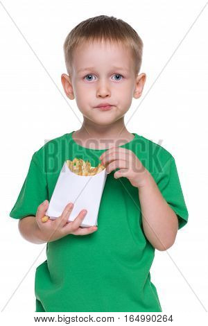 Little Boy Eats Fries