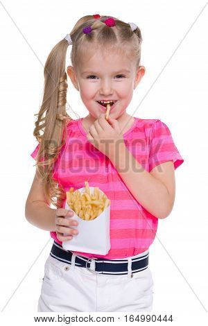 Little Girl Eats Fries