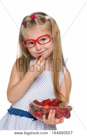 Pretty Little Girl Eats Strawberry