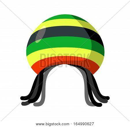 Rastafarian Hat And Dreadlocks Isolated. Jamaica Cap And Hair