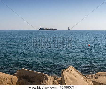 Freight Ships And Tankers Near Limassol Harbour