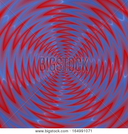 Abstract Illustration Of Blue Red Propeller Rotating On White