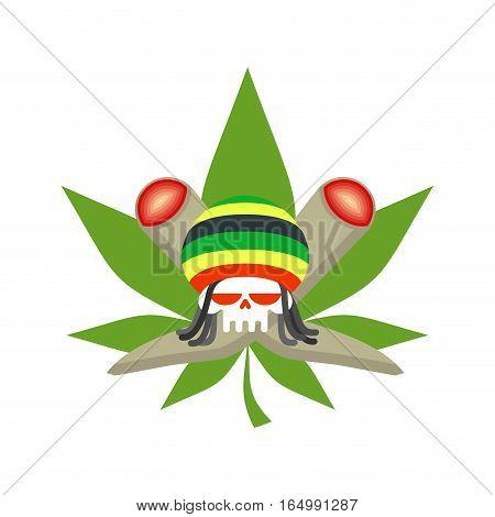 Rasta Logo. Rastafarian Hat And Skull. Joint Or Spliff And Marijuana Leaf