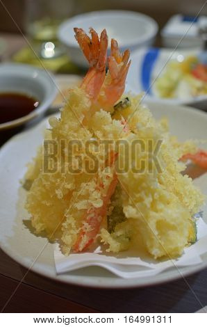 Closeup shrimp tempura in the Japanese restaurant