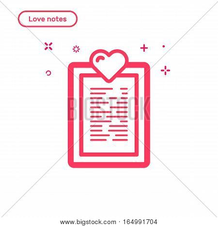 Vector illustration of icon concept love notes. Flat bold line style. Valentines day graphic design pink note with heart . Outline object.