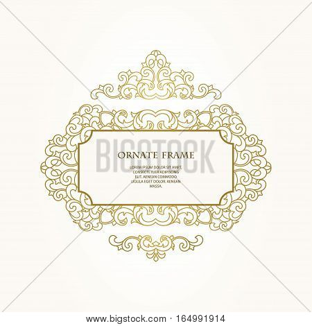Vector  frame  for design template.  Golden floral borders. Ornate decor  for save the date, birthday, greeting card, wedding invitation, leaflet, poster, certificate, thank you message.
