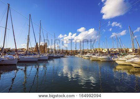 Msida Malta - Yacht marina with blue sky and nice clouds on a summer day