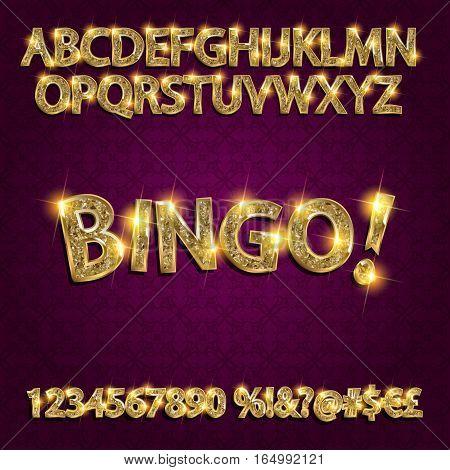 Bingo. Golden Glowing Alphabet
