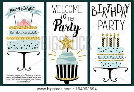 Happy Birthday Party cards set with cake cupcake topper candles and lettering text.