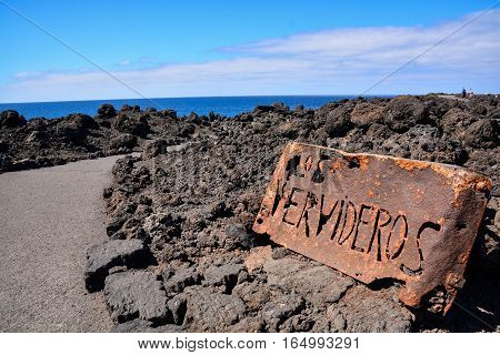 Landscape In Tropical Lanzarote Volcanic Canary Islands Spain