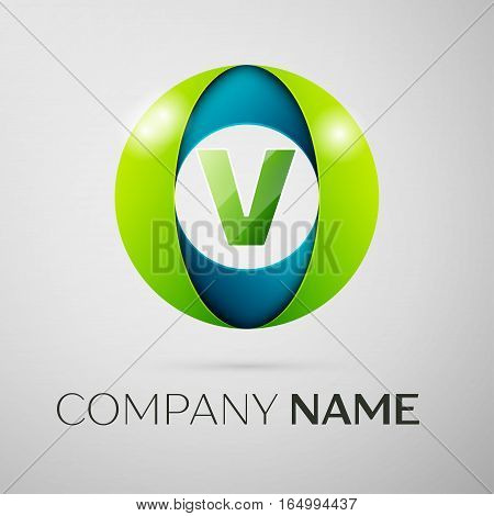 Letter V vector logo symbol in the colorful square on grey background. Vector template for your design
