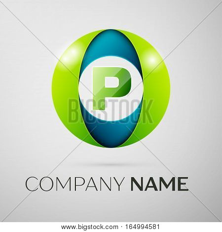 Letter P vector logo symbol in the colorful square on grey background. Vector template for your design